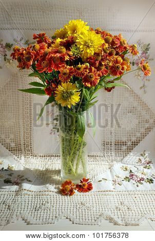 Autumnal Flowers Dahlia In A Vase