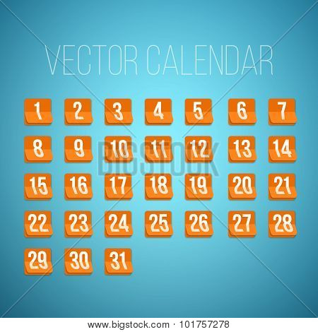 Set of Photorealistic Vector Calendar Icons from First to 31st.
