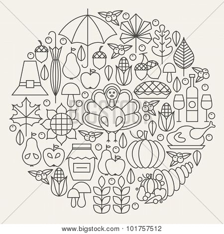Thanksgiving Day Holiday Line Icons Set Circle Concept