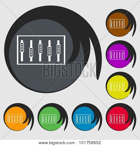 Dj Console Mix Handles And Buttons, Level Icons. Symbols On Eight Colored Buttons. Vector