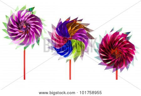 Group Of Colorful Children's Pinwheel