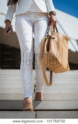 Business woman holding a bag