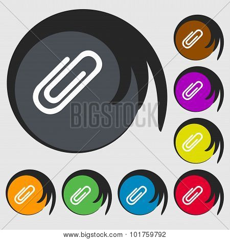 Paper Clip Sign Icon. Clip Symbol. Symbols On Eight Colored Buttons. Vector