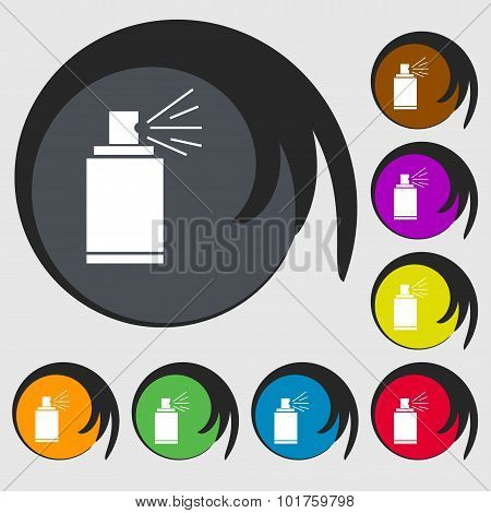 Graffiti Spray Can Sign Icon. Aerosol Paint Symbol. Symbols On Eight Colored Buttons. Vector