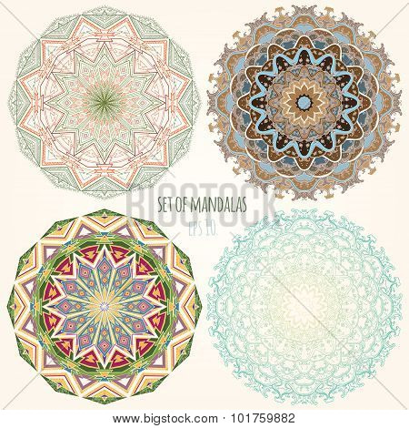 Set Of Color Mandalas. Ethnic Motifs