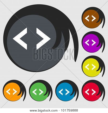 Code Sign Icon. Programmer Symbol. Symbols On Eight Colored Buttons. Vector