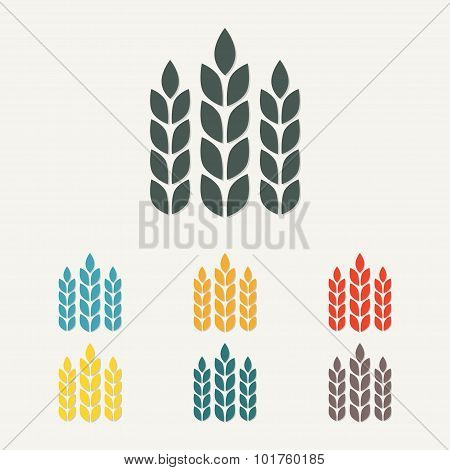 Wheat ears or rice icon. Agriculture symbol. Vector.