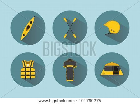 Rafting Flat Set Icons With Long Shadows