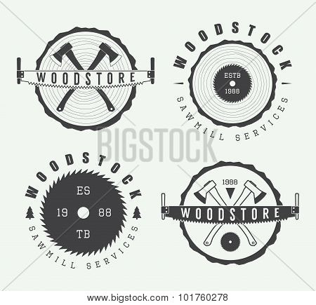 Set Of Vintage Carpentry And Sawmill Labels, Emblems And Logos