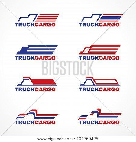 Blue red truck cargo logo vector design