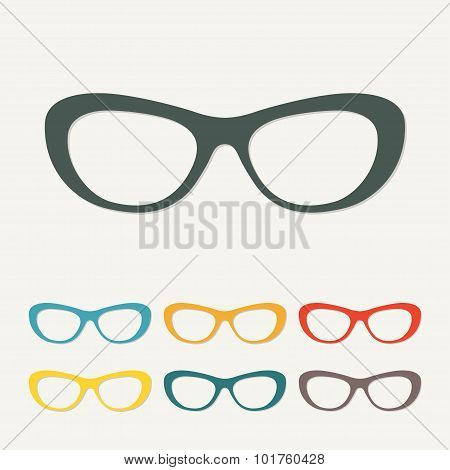 Glasses icon in flat style. Colorful vector illustration.