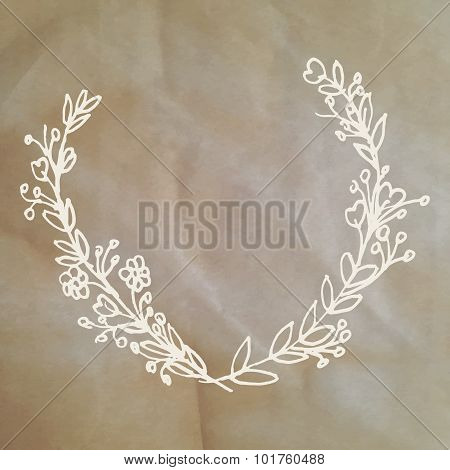 Cute Card With Laurel Flower Bouquet On Paper Background