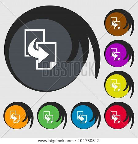 Copy File Sign Icon. Duplicate Document Symbol. Symbols On Eight Colored Buttons. Vector