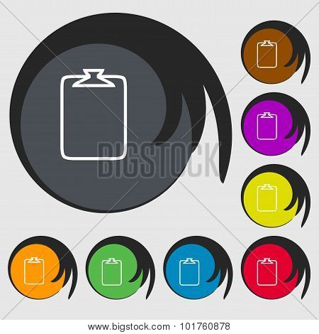 File Annex Icon. Paper Clip Symbol. Attach Sign. Symbols On Eight Colored Buttons. Vector