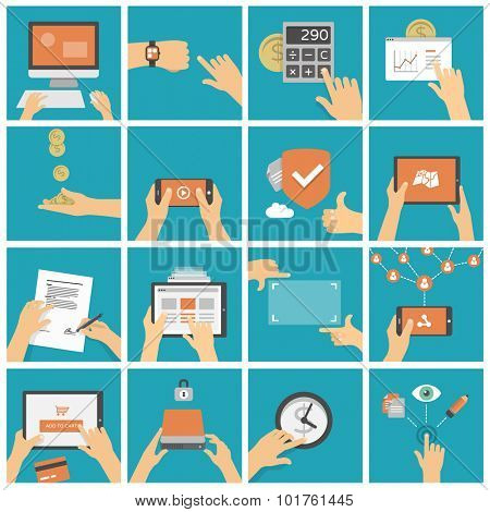 Hands using tablet, mobile phone and computer in different situations - shopping, watching video, working, social networking - set of flat design illustrations