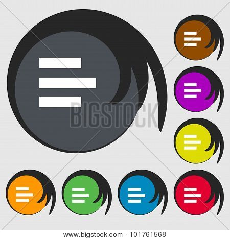 Left-aligned Icon Sign. Symbols On Eight Colored Buttons. Vector