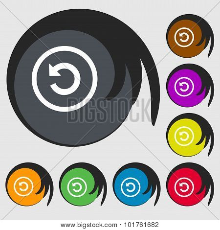 Upgrade, Arrow, Update Icon Sign. Symbols On Eight Colored Buttons. Vector