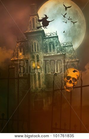 Skulls and Skeletons with creepy abandoned house in background