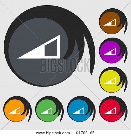Speaker Volume Icon Sign. Symbols On Eight Colored Buttons. Vector