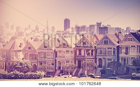 Retro Vintage Stylized Photo Of San Francisco Skyline, Usa.
