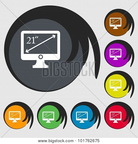 Diagonal Of The Monitor 21 Inches Icon Sign. Symbols On Eight Colored Buttons. Vector