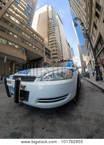 NEW YORK,USA - AUGUST 13,2015 : Police patrol car at a street in downtown New York