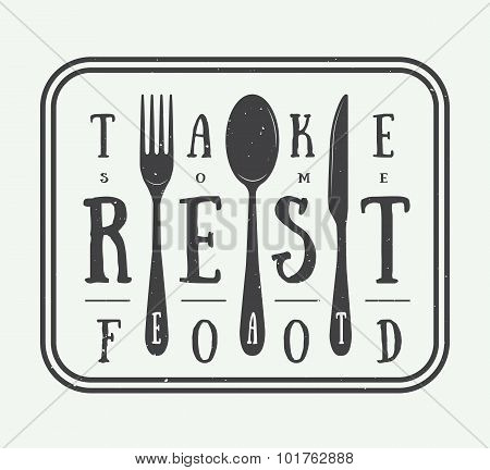 Vintage Restaurant Logo Badge With Slogan And Design Elements