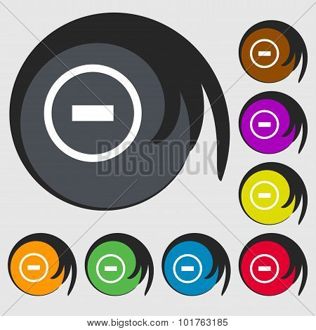 Minus Sign Icon. Negative Symbol. Zoom Out. Symbols On Eight Colored Buttons. Vector
