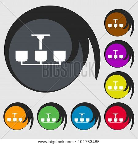 Chandelier Light Lamp Icon Sign. Symbols On Eight Colored Buttons. Vector