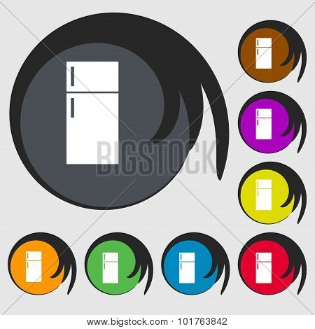 Refrigerator Icon Sign. Symbols On Eight Colored Buttons. Vector