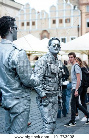 Prague,czech Republic - September 11, 2015:  Mime Artists On Old Town Square