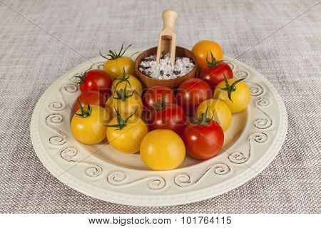 Fresh red and yellow cherry tomatoes and salt shaker on porcelain plate in a rustic style.