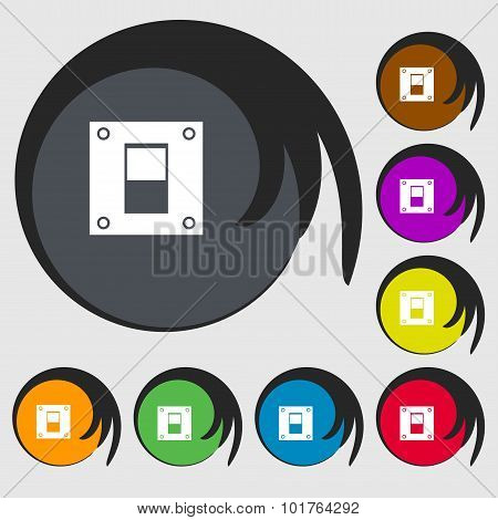 Power Switch Icon Sign. Symbols On Eight Colored Buttons. Vector
