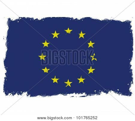 Threadbare flag of European Union