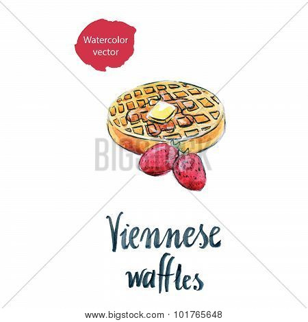 Watercolor Viennese Waffles