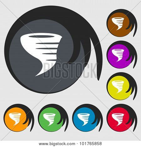 Tornado Icon. Symbols On Eight Colored Buttons. Vector