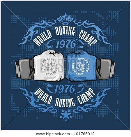 Boxing vintage vector label for poster, flyer or t-shirt print with flames and lettering