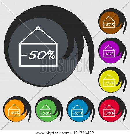 50 Discount Icon Sign. Symbols On Eight Colored Buttons. Vector