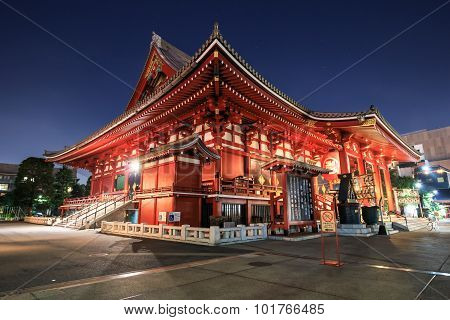 Sensoji Japanese Temple At Night