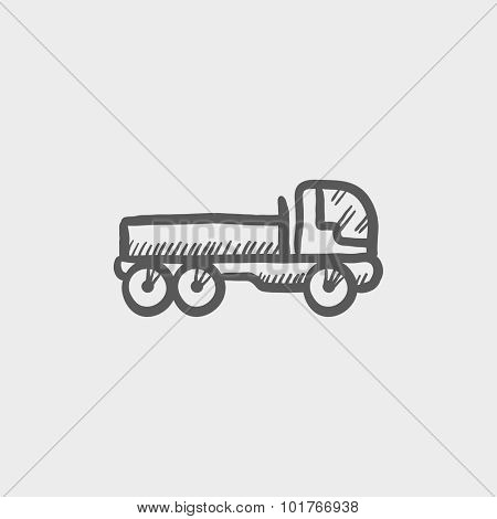 Dump truck sketch icon for web, mobile and infographics. Hand drawn vector dark grey icon isolated on light grey background.