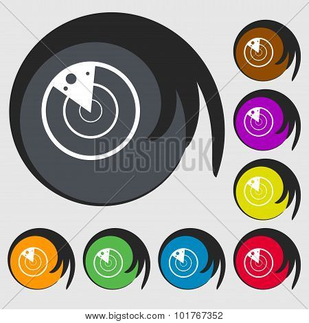 Radar Icon Sign. Symbols On Eight Colored Buttons. Vector