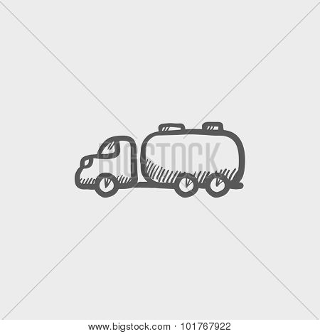 Truck liquid cargo sketch icon for web, mobile and infographics. Hand drawn vector dark grey icon isolated on light grey background.