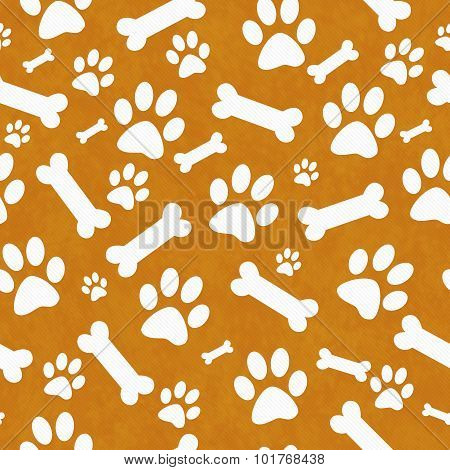Orange And White Dog Paw Prints And Bones Tile Pattern Repeat Background