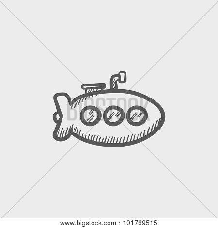 Submarine sketch icon for web, mobile and infographics. Hand drawn vector dark grey icon isolated on light grey background.