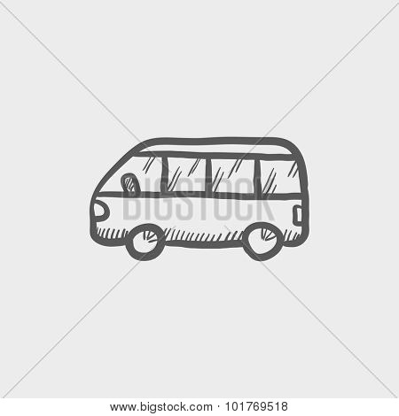 Minibus sketch icon for web, mobile and infographics. Hand drawn vector dark grey icon isolated on light grey background.