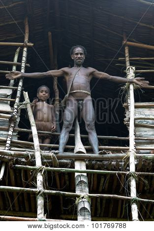 Man And His Daughter From Korowai Tribe.
