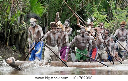 Asmat Men Paddling In Their Dugout Canoe