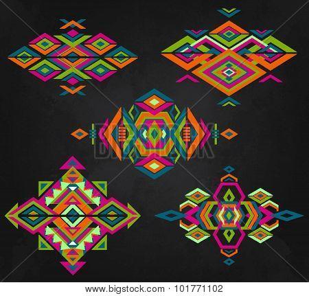 Tribal Element Patterns On Grunge Background.