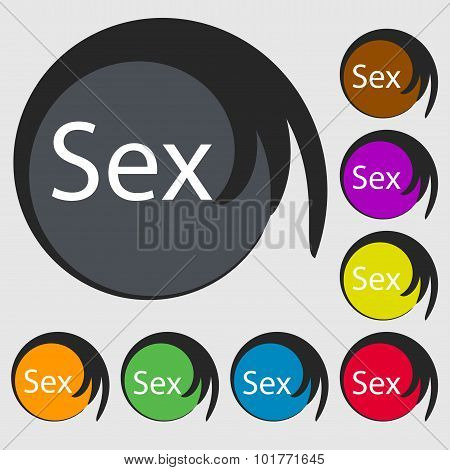 Safe Love Sign Icon. Safe Sex Symbol. Symbols On Eight Colored Buttons. Vector