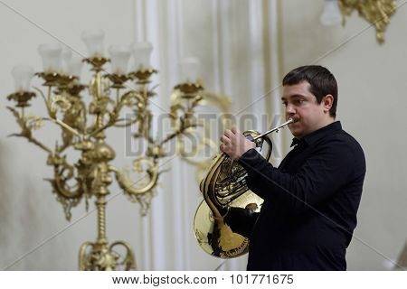 ST. PETERSBURG, RUSSIA - SEPTEMBER 7, 2015: Musician of